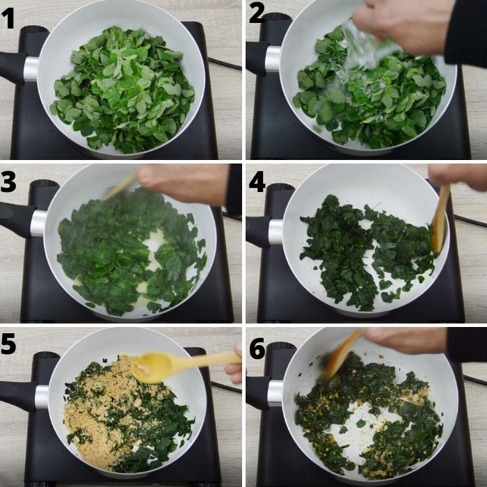 process of making moringa leaves dish.