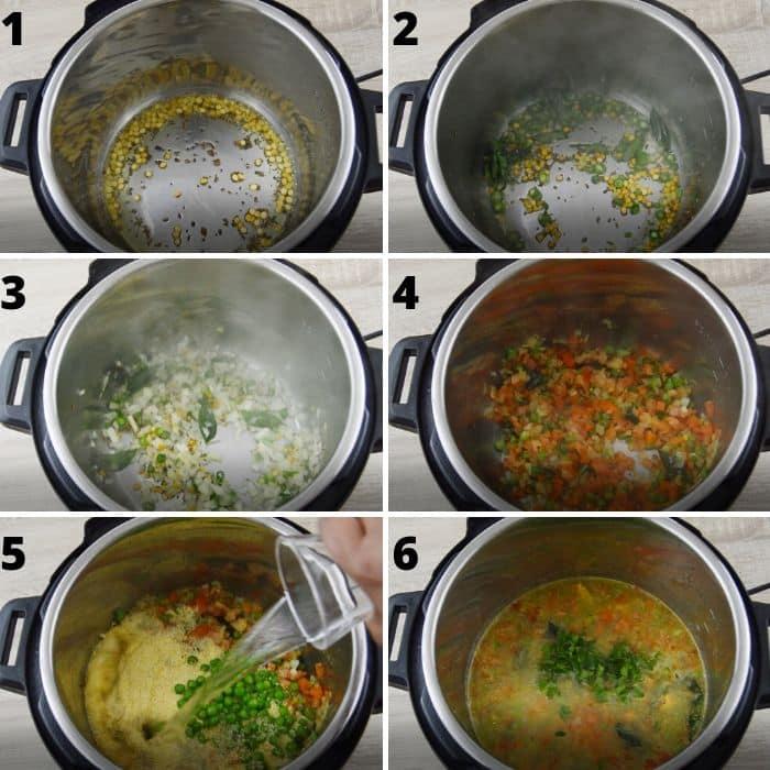 process of making vegetable rava upma in instant pot.