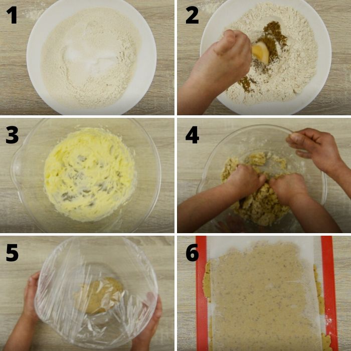process of making jeera biscuit dough.