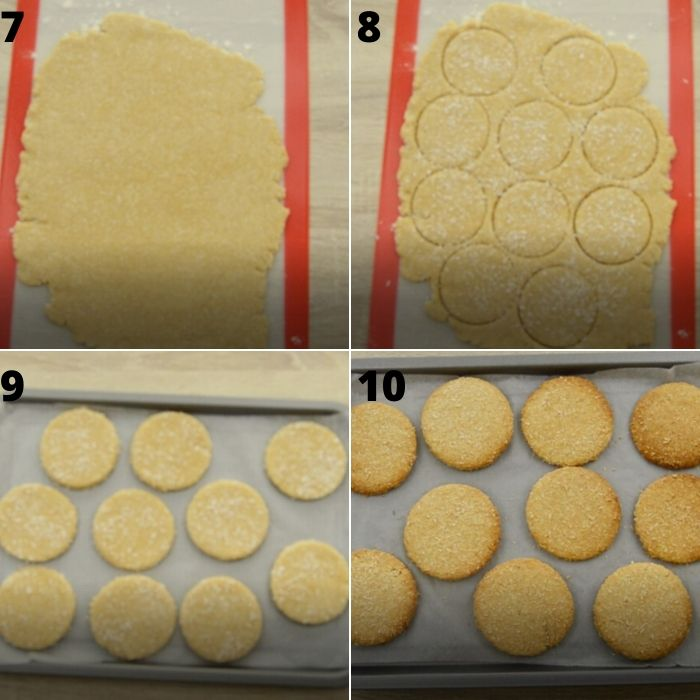 process of rolling and cutting eggless coconut cookies.