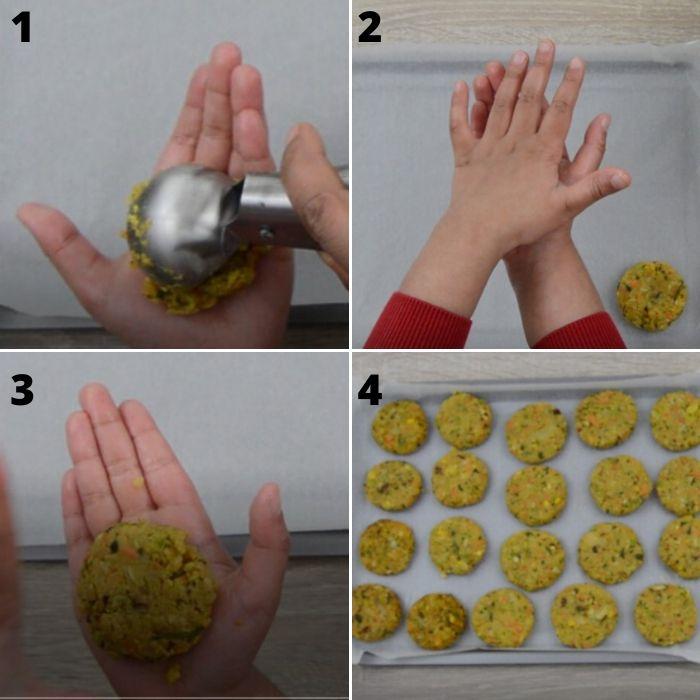 process of making chickpea veggie patties.