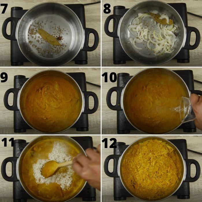 process of making tomato bath pulao.
