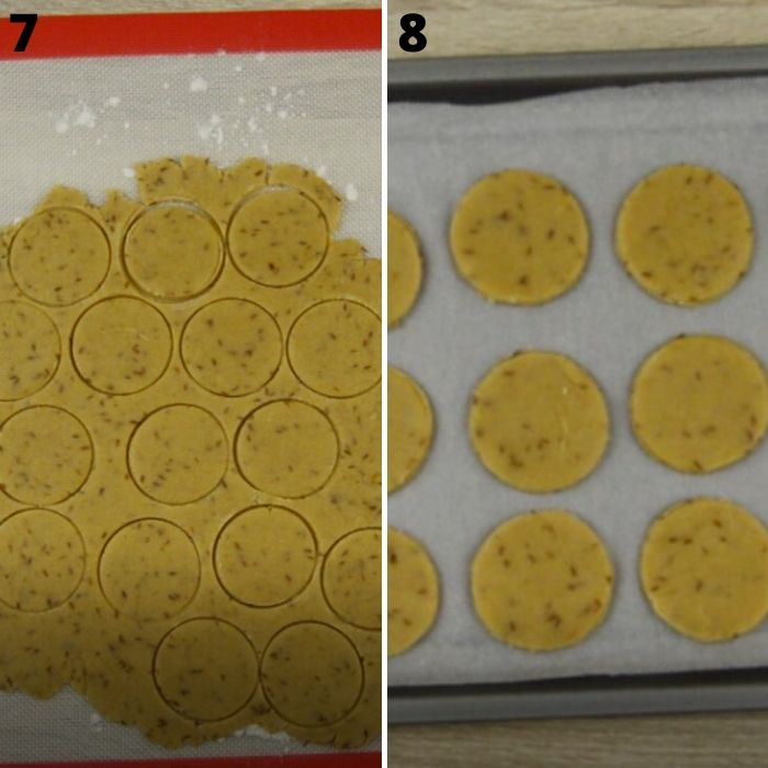 process of cutting cumin cookies and placing them on baking tray.