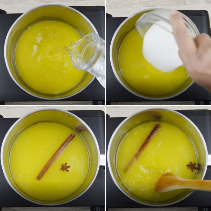 process of making orange simple syrup.