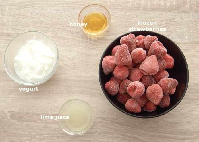 ingredients to make strawberry frozen yogurt.