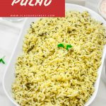 Pin Image of Methi Pulao in a white bowl on a marble background with text at top that says methi pulao.