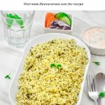 Pin Image of Methi Pulao in a white bowl on a marble background with text at top that says methi rice.