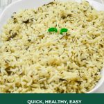 Pin Image of Methi Pulao in a white bowl on a marble background with text on green background at bottom that says methi pulao.