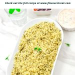 Pin Image of Methi Pulao in a white bowl on a marble background with text at top that says instant pot methi pulao