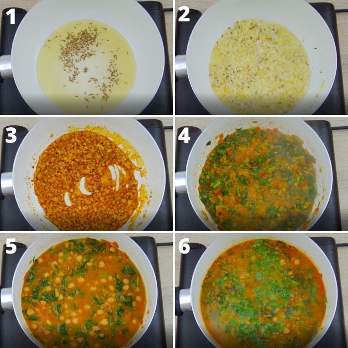 process of making chickpea spinach curry in a white pan.