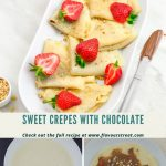pinterest image with 3 pics, top pic with folded crepes arranged in a pate with strawberries on top placed on a marble. Bottom 2 pics showing the crepes cooking on pan and a crepe with chocolate spread topped with strawberries and walnuts.