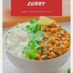white bowl filled with white rice, chickpea and spinach curry with coriander and lemon wedge placed on white table along with 2nd bowl of rice and curry on wooden board with text overlay on top.
