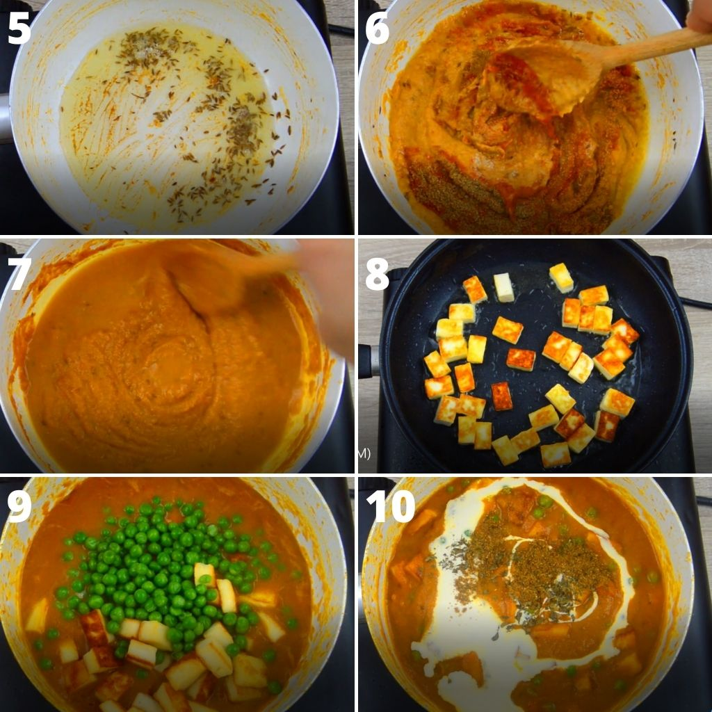 6 gallery images showing the process of cooking sauce with spices, fried paneer, mixing in peas, paneer and cream.