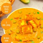 malai matar paneer curry in a white bowl placed on a granite along with a basket of chapatis, a plate of onion rings, bunch of coriander leaves, 2 spoons, blue cloth and white text overlay on orange background on top and sides.
