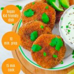 pin image of 4 sweet potato patties in a white side plate with a bowl of yogurt dip on wooden board with text overlay on top and left side.