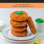 pin image of stack of 4 sweet potato patties and 1 patty on side placed on 2 white side plates with text overlay on top on black and orange background..