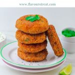 pin image of stack of 4 sweet potato patties and 1 patty on side placed on 2 white side plates with blue text overlay on top.