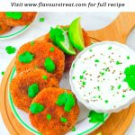 pin image of 4 sweet potato patties in a white side plate with a bowl of yogurt dip on wooden board with black text overlay on top.