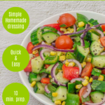 pin image with text overlay on top and left side showing onion cucumber tomato mint salad in a white bowl placed on granite background.