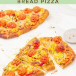 pin image showing vegetable flatbread pizzas on a marble with brown text overlay on green background on top and bottom.
