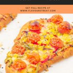 pin image showing vegetable flatbread pizzas on a marble with orange text overlay on black background on top.